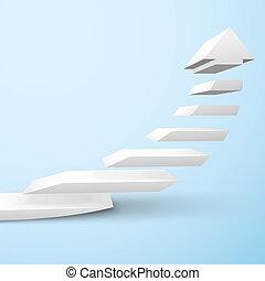 Ascending staircase arrow