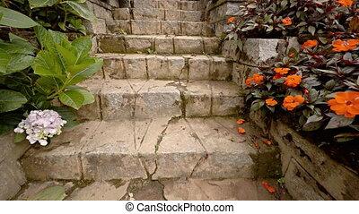 Ascending Stone Steps in an Elaborate, Tropical, Hillside...