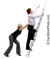 Ascending the ladder - Photo of businessman ascending the...