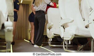 ascenseur, cabine, avion, sac, équipage, bagage