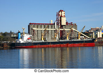 ascenseur grain, bateau, &, cargaison