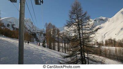 ascenseur, monter, ski, paysage, montagne
