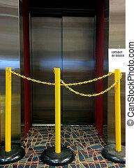 ascenseur, ordre, ascenseur, dehors