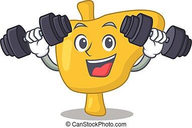 ascenseur, sent, heureux, barres disques, conception, haut, exercice, foie, pendant, mascotte