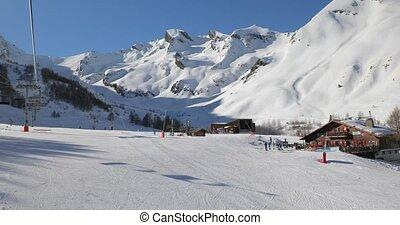 ascenseur, ski, montagne, monter, paysage