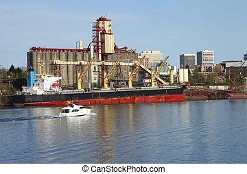 ascenseurs, cargaison, &, grain, ship.