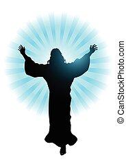 Ascension Of Jesus Christ - Silhouette illustration of Jesus...