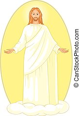 Ascension of Jesus Christ in white robes standing on a cloud...