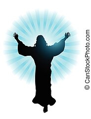 Silhouette illustration of Jesus Christ raising His hands, for the ascension day of Jesus Christ theme