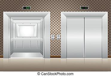 ascensore, aperto, due, porte, chiuso