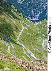Ascent to Stelvio Pass from above. - Top view of last ...