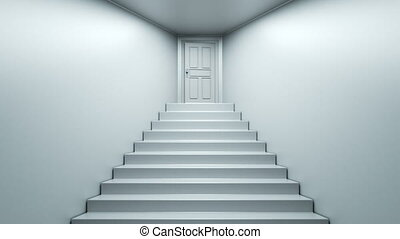 Ascent to the top of the stairs. - Door opening to a bright...