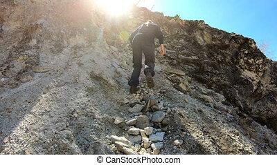 ascent., wanderer, erreichen, zu, summit., m�dchen,...