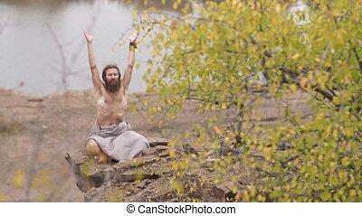 Asceti? man do yoga on nature