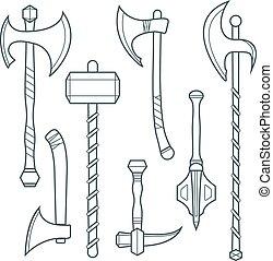 ascia, armi, alabarda, grigio, freddo, medievale, ascia, contorno, battaglia, set, vettore, martello, mazza, scuro, poleax