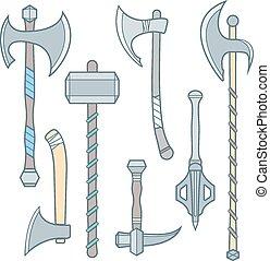 ascia, armi, colorato, alabarda, freddo, ascia, medievale, battaglia, contorno, set, vettore, martello, mazza, poleax