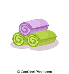 asciugamani, viola, su, illustrazione, rotolato, vettore, sfondo verde, bianco