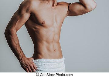 asciugamano, magro, muscolare, proposta, anche, uomo