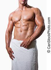 asciugamano, sezione, mezzo, muscolare, bianco, shirtless, uomo