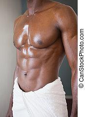 asciugamano, sezione, mezzo, muscolare, bianco, uomo