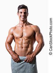 asciugamano, shirtless, muscolare, involvere, bianco, uomo sorridente