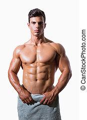 asciugamano, shirtless, muscolare, involvere, ritratto, bianco, uomo