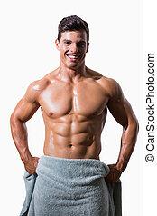 asciugamano, shirtless, muscolare, involvere, ritratto, uomo sorridente