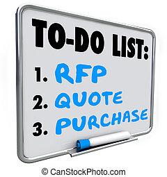 asciutto, acquisto, rfp, richiesta, elenco, cancellare, citazione, boa, proposta