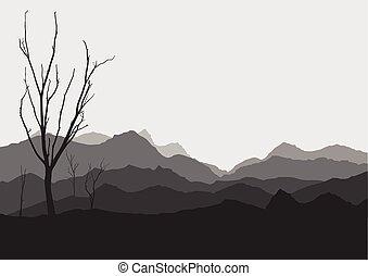 asciutto, albero, scena, illustrazione, vettore, fondo,...