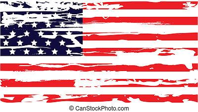 asciutto, bandiera americana, spazzola