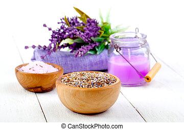 asciutto, candela, legno, lavanda, bagno, erbe, tavola, bianco, sale