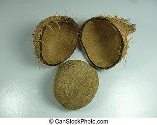 asciutto, cocos, usato, nucifera, coconut., cottura