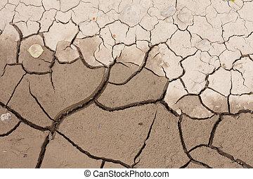asciutto, concetto, fondo, terra, fesso, siccità