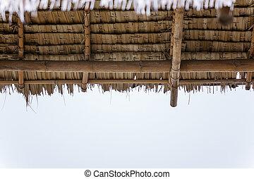 asciutto, erba, tetti, bianco, fondo