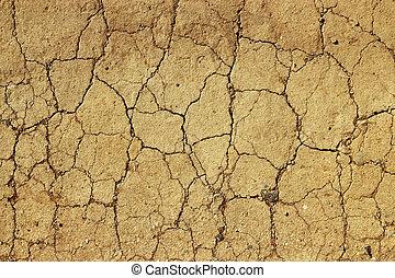 asciutto, fango ceduto, primo piano, naturale, astratto,...
