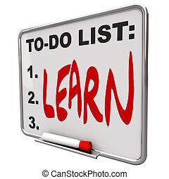 asciutto, fare elenco, -, cancellare, asse, imparare