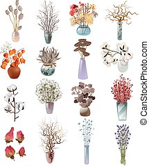 asciutto, fiori, mazzolini, collezione, vasi