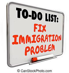 asciutto, fissare, elenco, immigrazione, cancellare, asse, problema