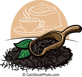 asciutto, foglie tè, nero