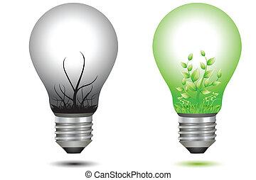 asciutto, lampadine, albero, verde