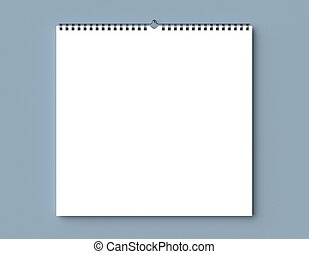 asciutto, parete, legatura, spirale, su, vuoto, wall., calendario, illustrating., beffare, 3d