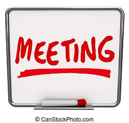 asciutto, parola, meet-up, discussione, cancellare, riunione cartolina