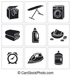 asciutto, set, bucato, icone, vettore, pulizia