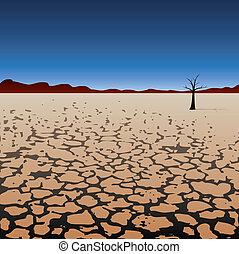 asciutto, solitario, albero, deserto, vettore