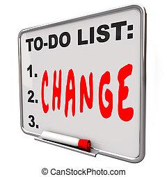 asciutto, to-do, parola, elenco, cancellare, asse, cambiamento, migliorare