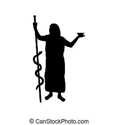 Asclepius god medicine silhouette ancient mythology fantasy...