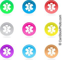 asclepius, icônes, isolé, blanc