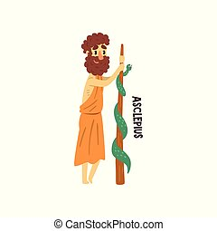 Asclepius Olympian Greek God, ancient Greece mythology character vector Illustration on a white background