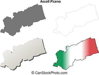Ascoli Piceno blank detailed outline map set - Ascoli Piceno...