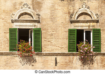 Ascoli - Windows with flowers of historic palace